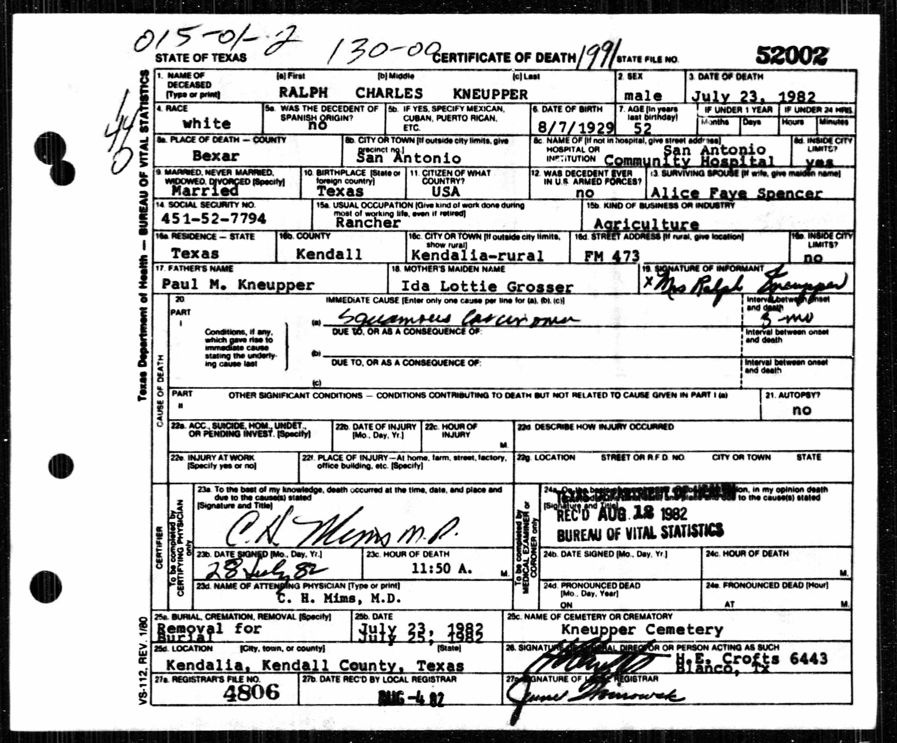 Ralph kneupper death certificate aiddatafo Image collections